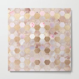 Hexagonal Honeycomb Marble Rose Gold Metal Print