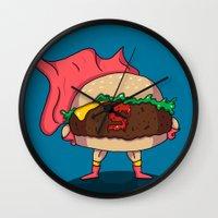 heroes Wall Clocks featuring Hamburger Heroes by Chris Piascik