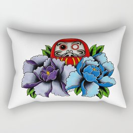Daruma Doll Peony Flowers Tattoo Rectangular Pillow