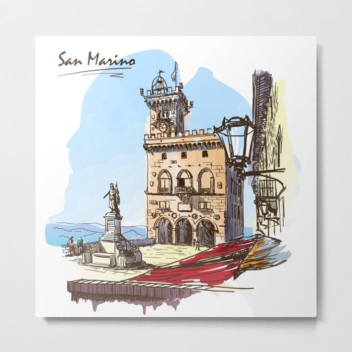 Sketches from Italy - San Marino Metal Print