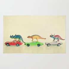 Dinosaurs Ride Cars Rug