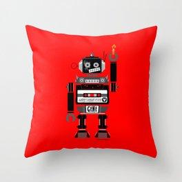 80s Mix Tape Robot - Gene (KISS TRIBUTE) Throw Pillow