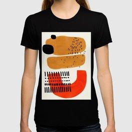 Mid Century Modern Abstract Minimalist Retro Vintage Style Fun Playful Ochre Yellow Ochre Orange Sha T-shirt