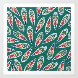 Green African Pattern Art Print