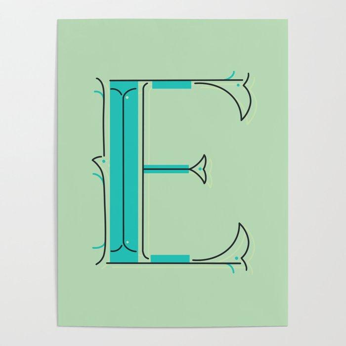 Drop Cap E - decorative letter - typography - monogram - capital Poster