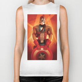 Captain The First  Avenger America by Big Foot Studios Biker Tank
