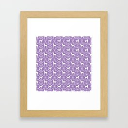 Poodle silhouette floral pattern minimal dog patterns for poodles owners lilac and white Framed Art Print
