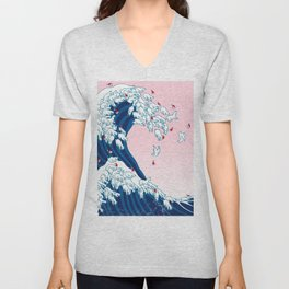 Christmas Llama Great Wave in Pink Unisex V-Neck
