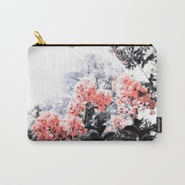 Living Coral Pink Peach & Gray Floral Carry-All Pouch