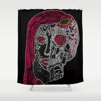 sugar skull Shower Curtains featuring Sugar Skull by Classic Mixup Art
