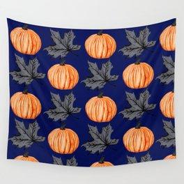 Pumpkin Blue Autumn Leaf Wall Tapestry