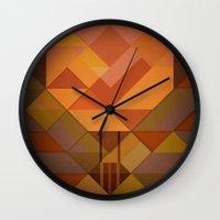hot air balloon Wall Clocks featuring Hot Air Balloon Abstract by Alyn Spiller