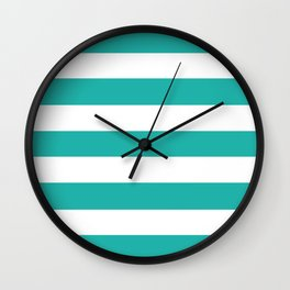 Light sea green - solid color - white stripes pattern Wall Clock
