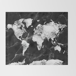 world map marble 4 Throw Blanket