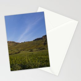 Green Fields Mountains and Blue Sky Stationery Cards