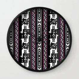 Llamas_Fuchsia stripes Wall Clock