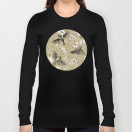 Flowers and Flight in Monochrome Golden Tan Long Sleeve T-shirt