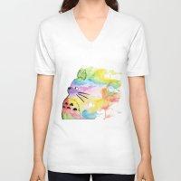 rainbow V-neck T-shirts featuring My Rainbow Totoro by scoobtoobins
