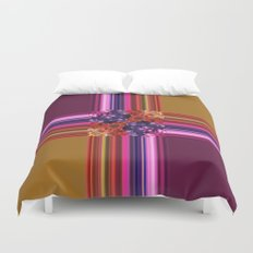 Purplish-Red and Gold Colorblock Abstract Duvet Cover