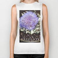 coffe Biker Tanks featuring Coffe Beans and Blue Flower of Artichoke by CAPTAINSILVA
