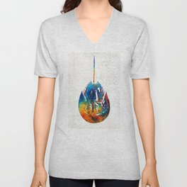 Colorful Horseshoe Crab Art by Sharon Cummings Unisex V-Neck