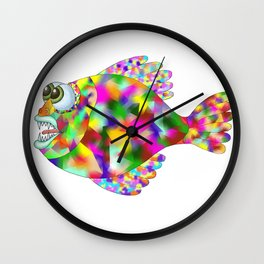 colored fish with teeth on the white background, graphic arts Wall Clock