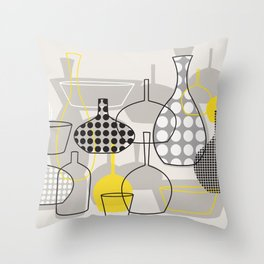 Still life with vases - yellow Throw Pillow