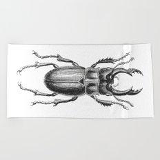 Vintage Beetle black and white Beach Towel