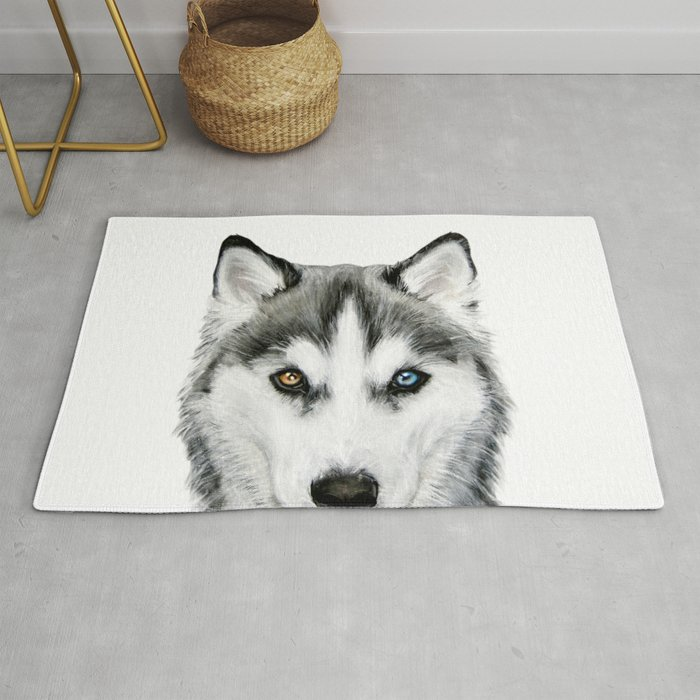 Siberian Husky Dog With Two Eye Color Dog Illustration Original
