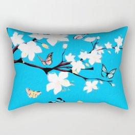 White Blossoms and Butterflies Rectangular Pillow