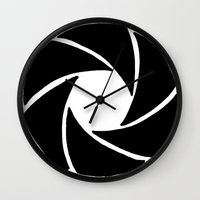 aperture Wall Clocks featuring Aperture by PlayWithFireDieInIce