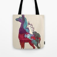 the last unicorn Tote Bags featuring The Last Unicorn by nellfoxface