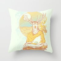 antlers Throw Pillows featuring Antlers by Andrew Haines Art