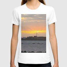 The windmill in the sunrise is beautiful view, Jeju island in Korea T-shirt