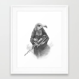 Hooded Vulture with Uilleann Pipes by Pia Tham Framed Art Print