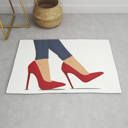 Red high heels and blue jeans Rug
