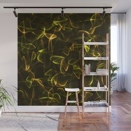 Cosmic intertwining golden cobwebs of bronze lines and smoke in shine. Wall Mural