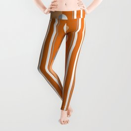 Orange and gray geometric pattern with circles and stripes Leggings