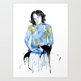 Father Earth, save the marine life  Art Print