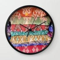 bali Wall Clocks featuring bali ikat by TARYN KENT