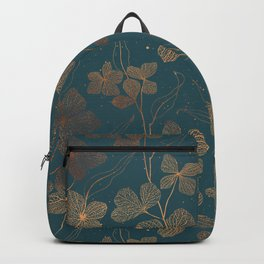 Copper Art Deco Flowers on Emerald  Backpack