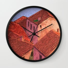Houses by the lake Wall Clock