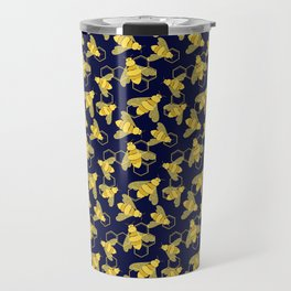 Golden Bees with Floral details on the wings and HoneyComb background Travel Mug