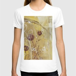 Yellow Tan Spring Abstract Flowers. Jodilynpaintings. Abstract Floral T-shirt