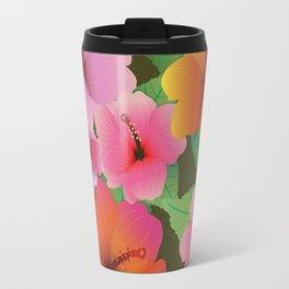 Colorful Hawaiian Hibiscus Flowers Travel Mug
