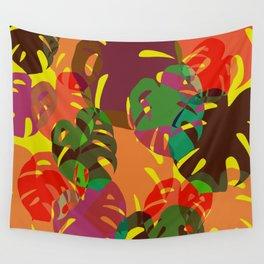 multicolored monstera Wall Tapestry