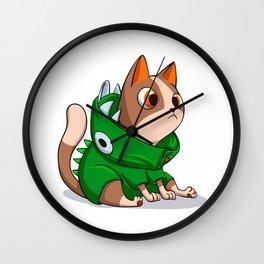 Cat dinosaur costume Wall Clock