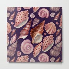 Watercolor Seashells Pattern on Plum Purple Metal Print