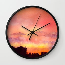 Minsk sunset skyline in watercolours Wall Clock