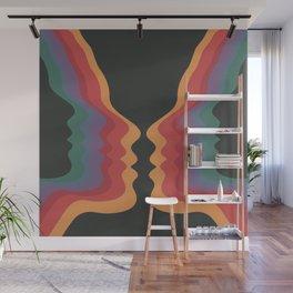 Rainbow Face, Retro 60s 70s Mid Century Modern Art Wall Mural